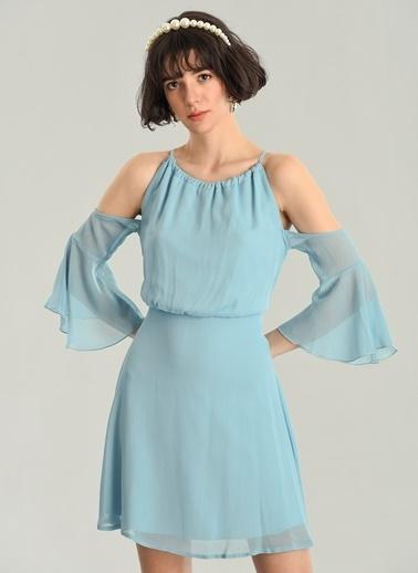 Agenda Volanlı Omuzları Açık Elbise Mavi